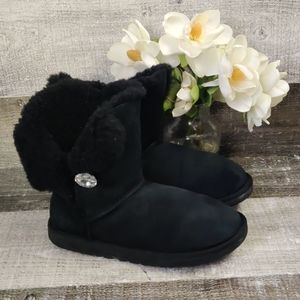 UGG Shoes - UGG black suede booties with gemstone button